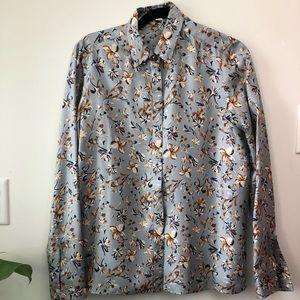 HUGO BOSS Button Down Silk Floral Blouse